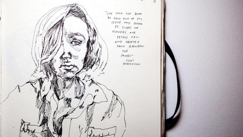 "An inked self portrait from the notebook of Sarah Nourie. Next to the portrait is a handwritten quote: ""She took the book by each end of its spine and shook it. Scores of flowers and petals fell and drifted between the pages."""