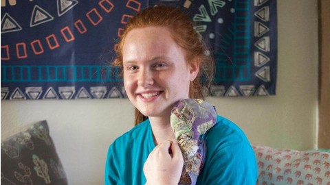 Hannah Johnston, class of 2020, shows off Doggy, her stuffed animal